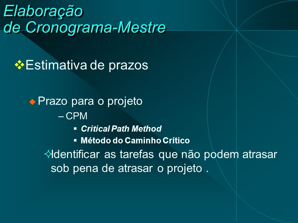 Elaboração de Cronograma-Mestre  Estimativa de prazos  Prazo para o projeto –CPM  Critical Path Method  Método do Caminho Crítico  Identificar as
