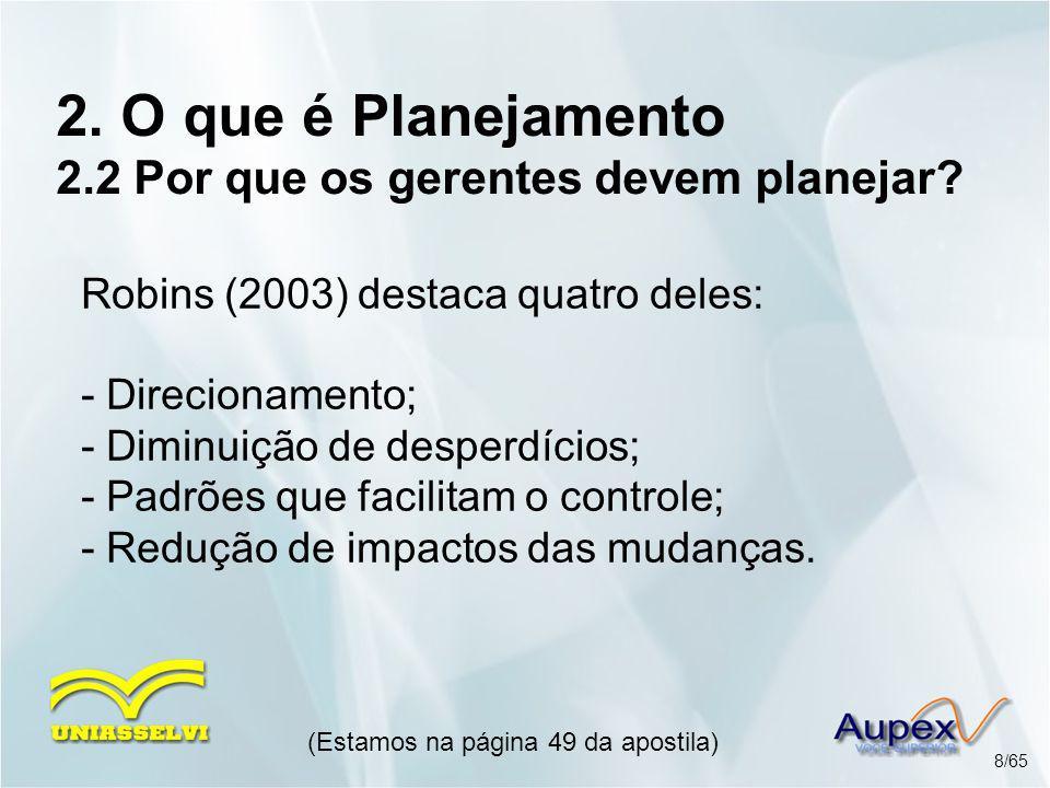 2. O que é Planejamento 2.2 Por que os gerentes devem planejar? Robins (2003) destaca quatro deles: - Direcionamento; - Diminuição de desperdícios; -