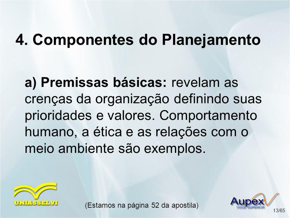 4. Componentes do Planejamento a) Premissas básicas: revelam as crenças da organização definindo suas prioridades e valores. Comportamento humano, a é