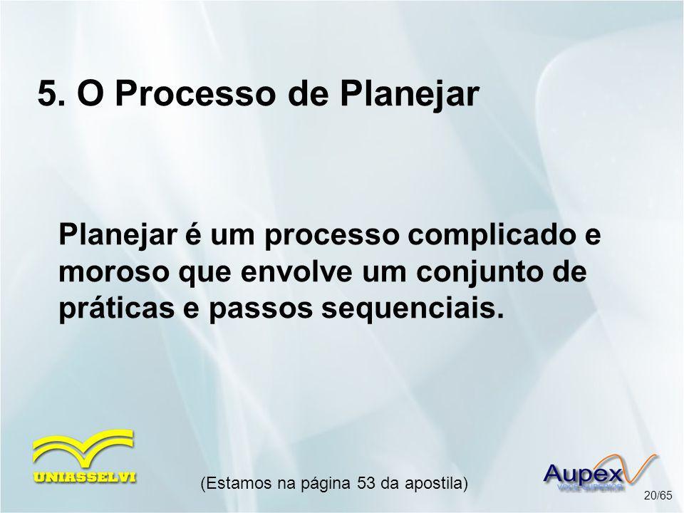 5. O Processo de Planejar Planejar é um processo complicado e moroso que envolve um conjunto de práticas e passos sequenciais. (Estamos na página 53 d
