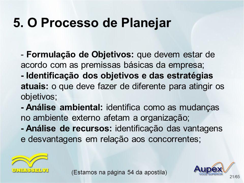 5. O Processo de Planejar - Formulação de Objetivos: que devem estar de acordo com as premissas básicas da empresa; - Identificação dos objetivos e da