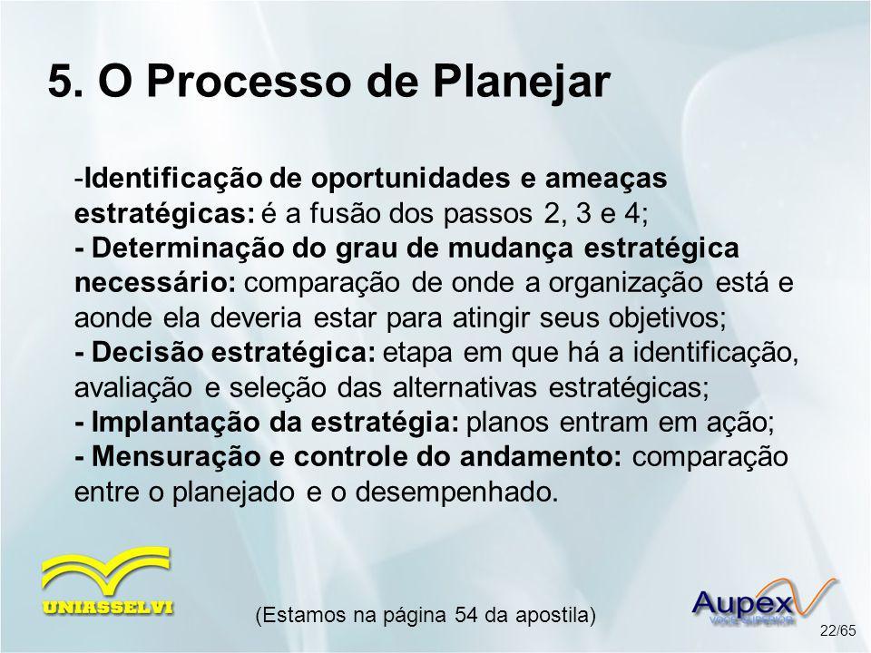 5. O Processo de Planejar -Identificação de oportunidades e ameaças estratégicas: é a fusão dos passos 2, 3 e 4; - Determinação do grau de mudança est