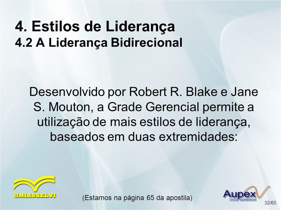 4. Estilos de Liderança 4.2 A Liderança Bidirecional (Estamos na página 65 da apostila) 32/65 Desenvolvido por Robert R. Blake e Jane S. Mouton, a Gra