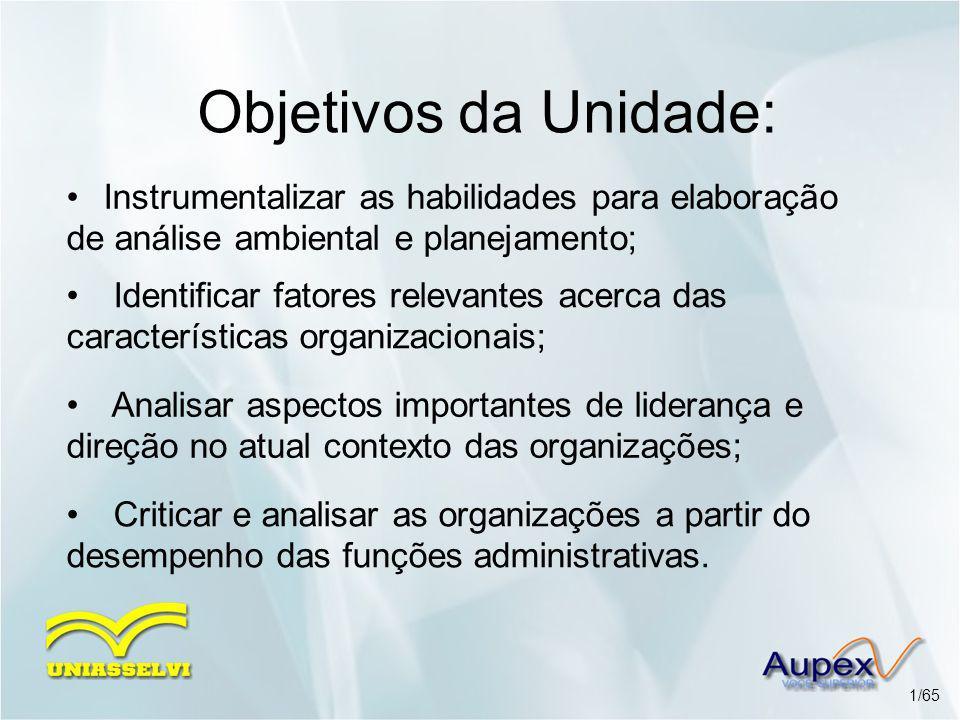 Objetivos da Unidade: Instrumentalizar as habilidades para elaboração de análise ambiental e planejamento; Analisar aspectos importantes de liderança