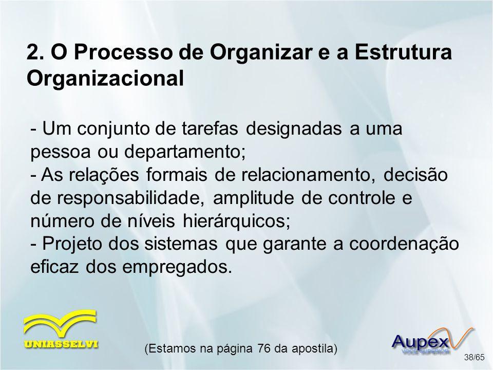 2. O Processo de Organizar e a Estrutura Organizacional (Estamos na página 76 da apostila) 38/65 - Um conjunto de tarefas designadas a uma pessoa ou d