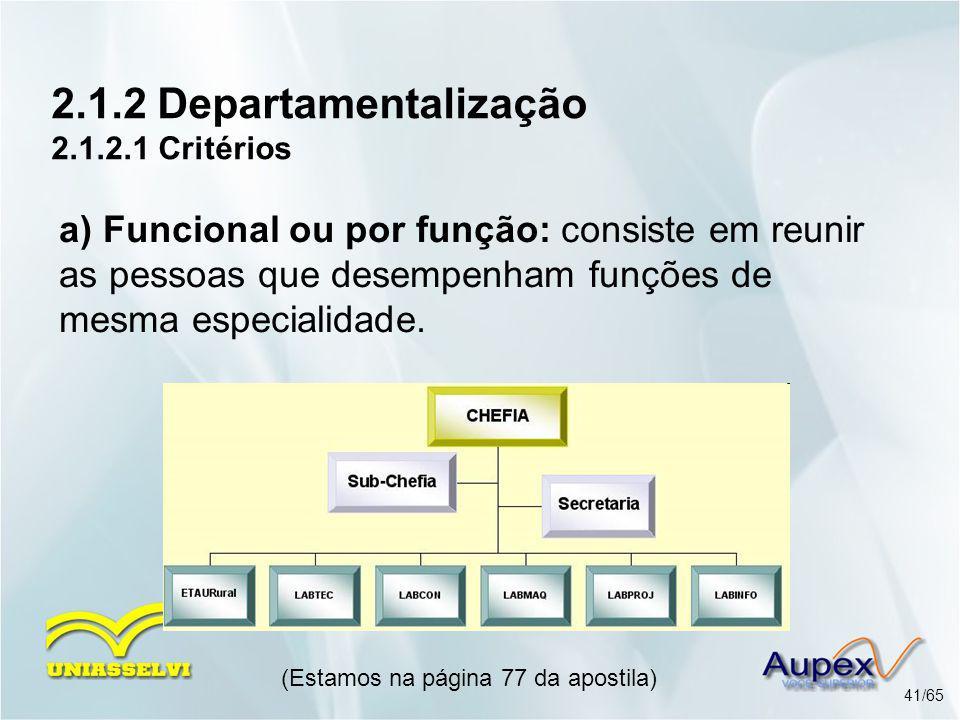 2.1.2 Departamentalização 2.1.2.1 Critérios (Estamos na página 77 da apostila) 41/65 a) Funcional ou por função: consiste em reunir as pessoas que des