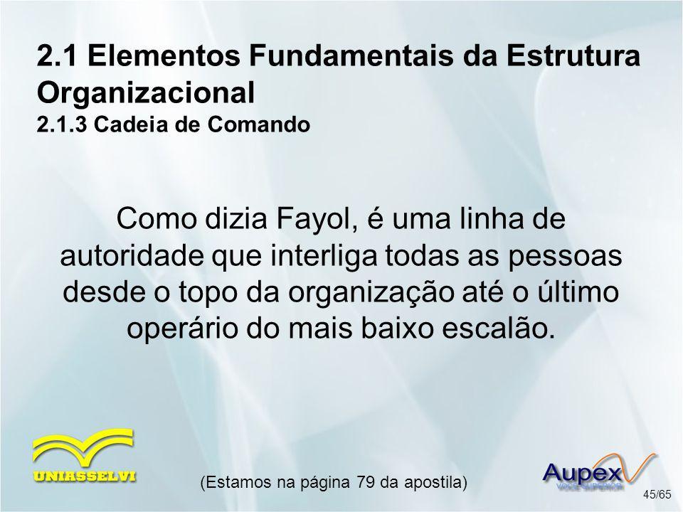 2.1 Elementos Fundamentais da Estrutura Organizacional 2.1.3 Cadeia de Comando (Estamos na página 79 da apostila) 45/65 Como dizia Fayol, é uma linha