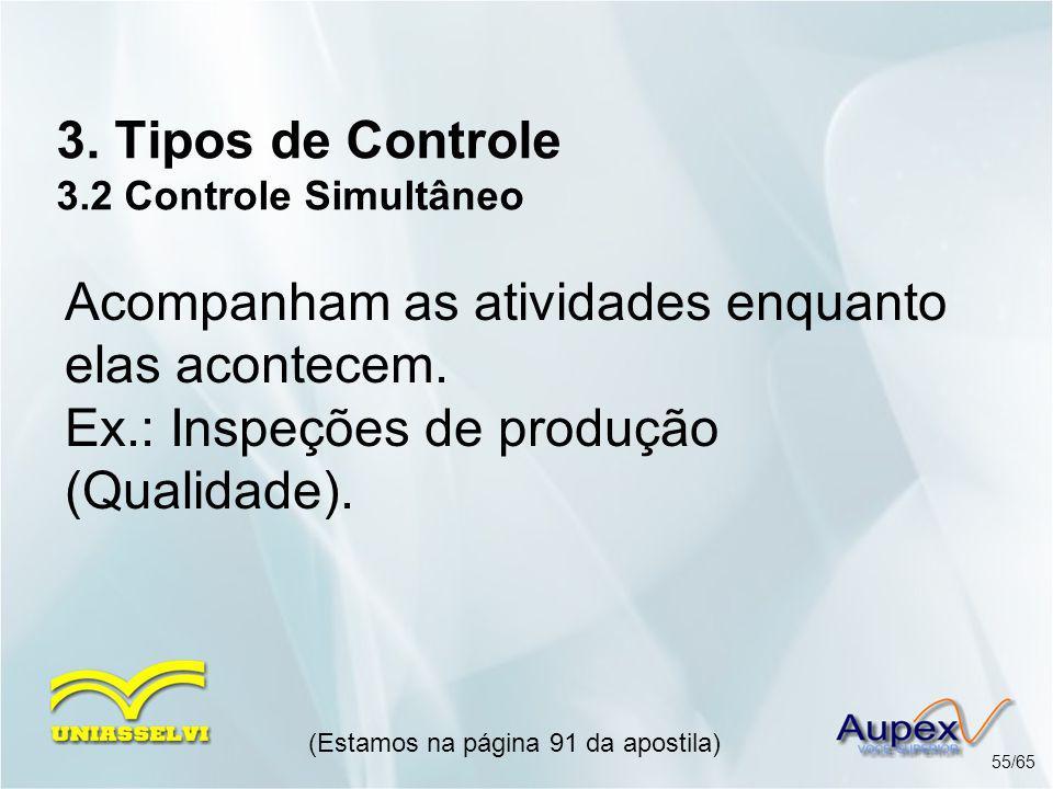 3. Tipos de Controle 3.2 Controle Simultâneo (Estamos na página 91 da apostila) 55/65 Acompanham as atividades enquanto elas acontecem. Ex.: Inspeções