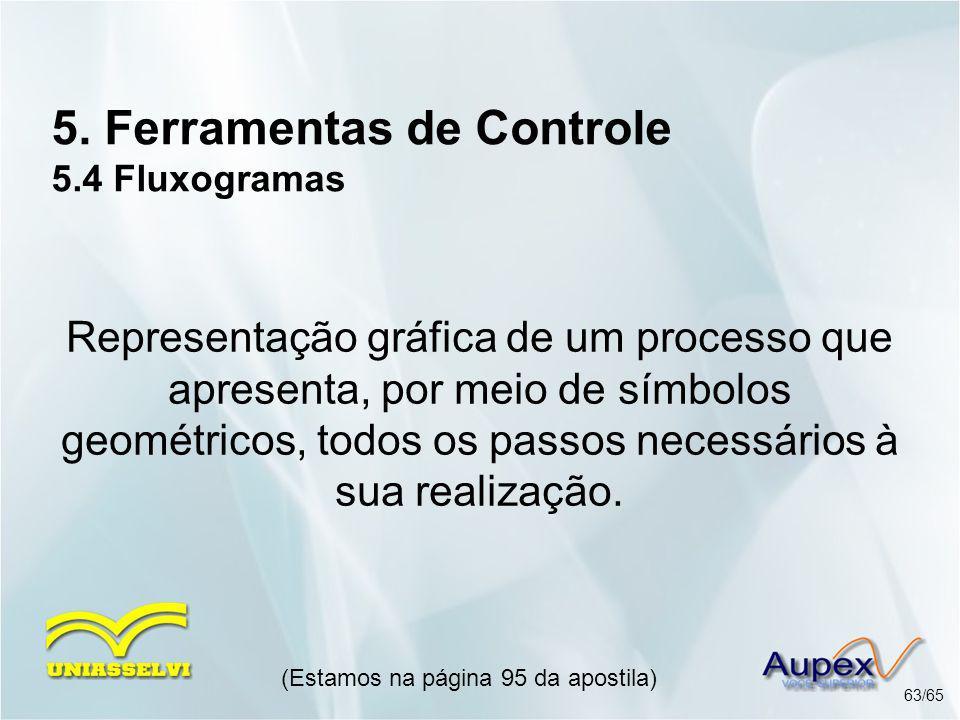 5. Ferramentas de Controle 5.4 Fluxogramas (Estamos na página 95 da apostila) 63/65 Representação gráfica de um processo que apresenta, por meio de sí