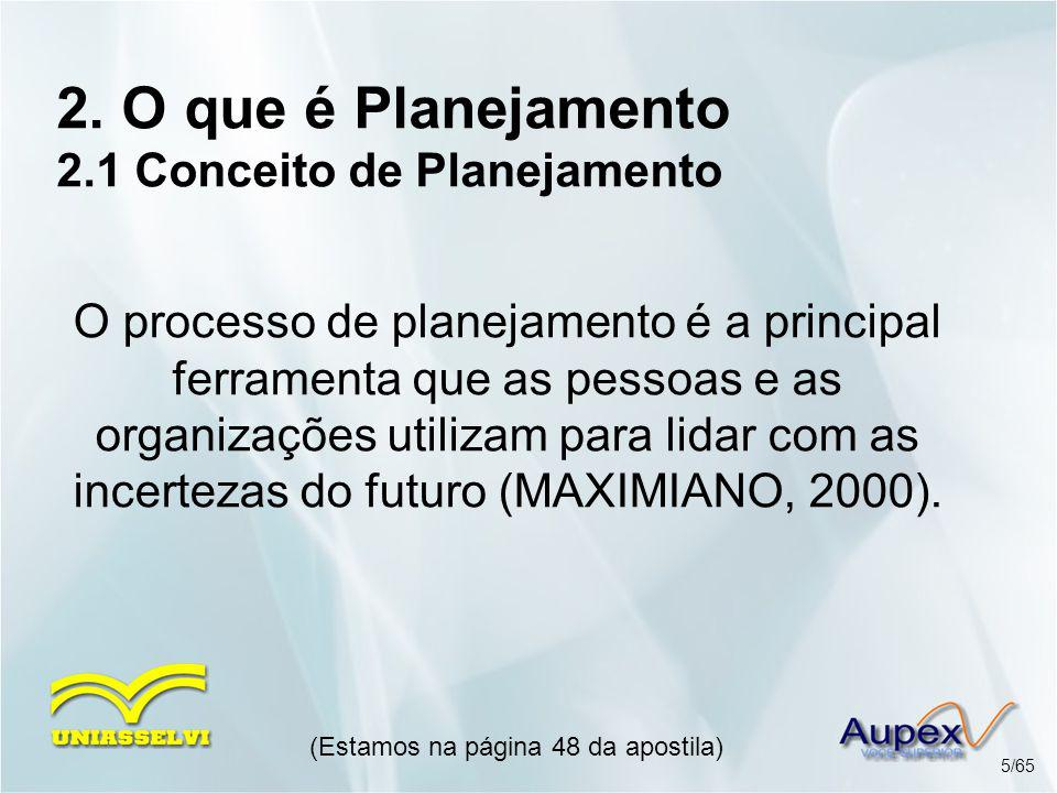 2. O que é Planejamento 2.1 Conceito de Planejamento O processo de planejamento é a principal ferramenta que as pessoas e as organizações utilizam par