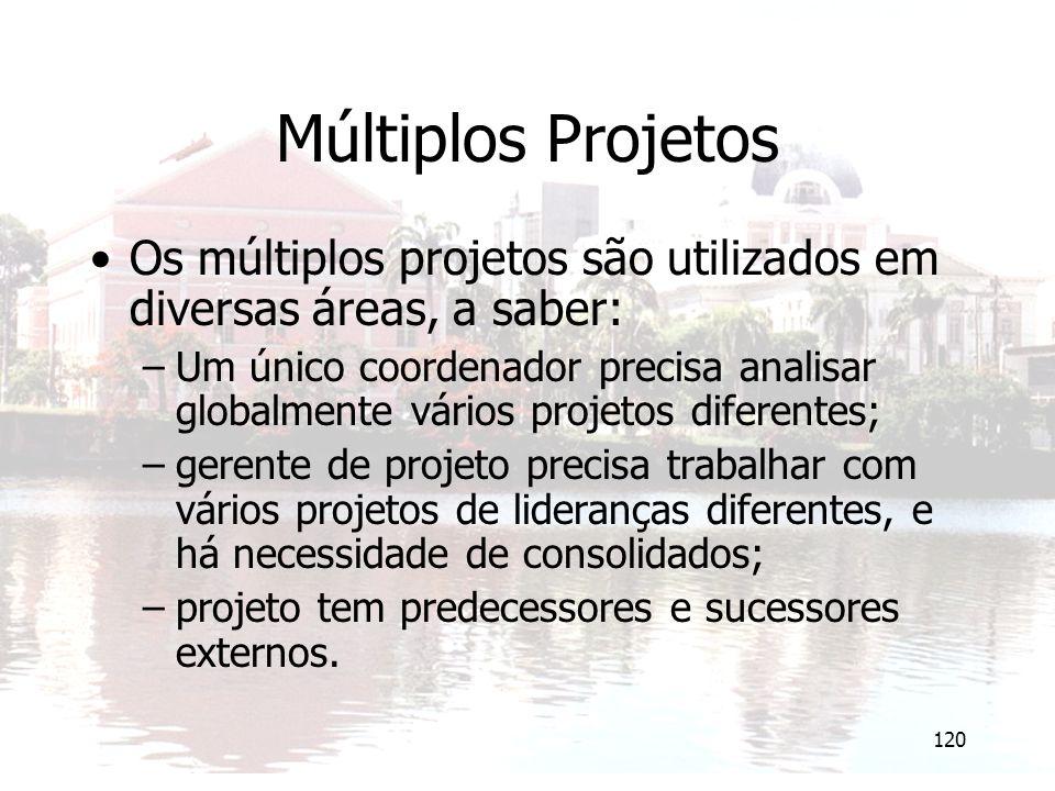 120 Múltiplos Projetos Os múltiplos projetos são utilizados em diversas áreas, a saber: –Um único coordenador precisa analisar globalmente vários proj