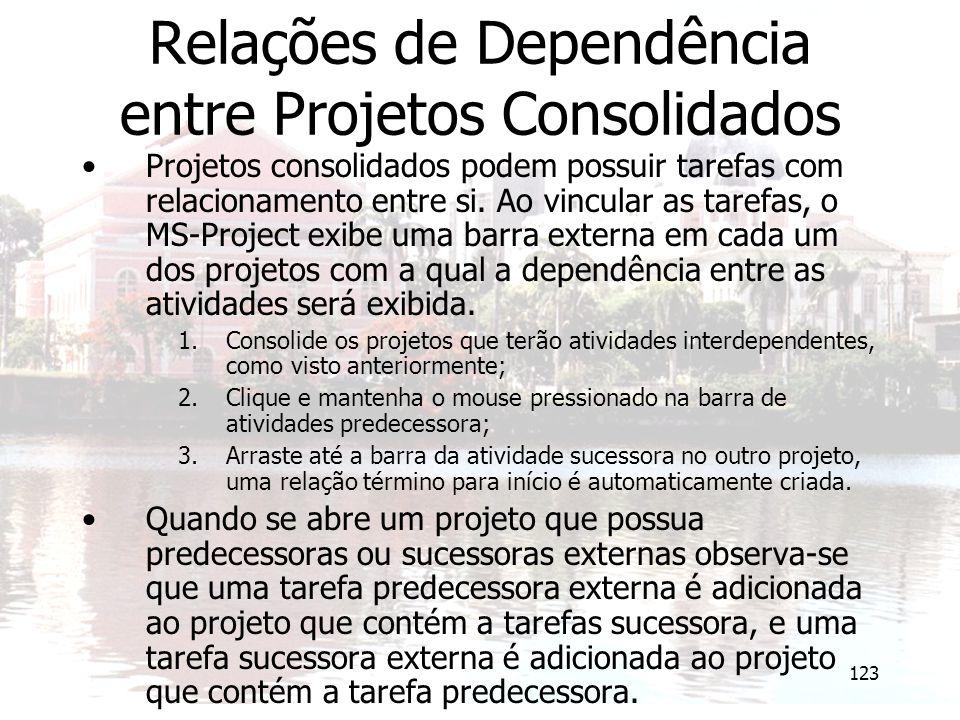 123 Relações de Dependência entre Projetos Consolidados Projetos consolidados podem possuir tarefas com relacionamento entre si. Ao vincular as tarefa