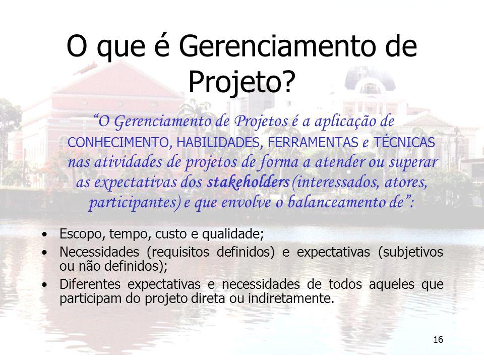 """16 O que é Gerenciamento de Projeto? """"O Gerenciamento de Projetos é a aplicação de CONHECIMENTO, HABILIDADES, FERRAMENTAS e TÉCNICAS nas atividades de"""