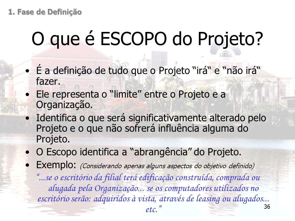 """36 O que é ESCOPO do Projeto? É a definição de tudo que o Projeto """"irá"""" e """"não irá"""" fazer. Ele representa o """"limite"""" entre o Projeto e a Organização."""