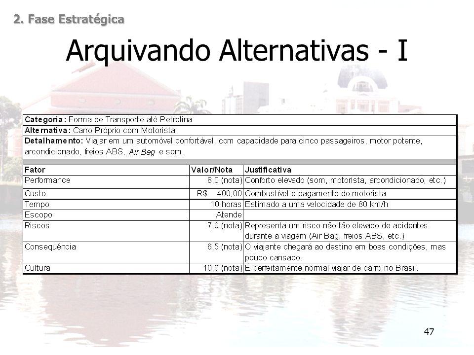 47 Arquivando Alternativas - I 2. Fase Estratégica