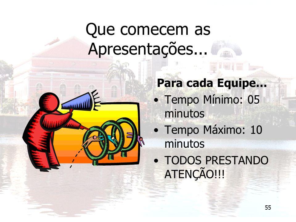 55 Que comecem as Apresentações... Para cada Equipe… Tempo Mínimo: 05 minutos Tempo Máximo: 10 minutos TODOS PRESTANDO ATENÇÃO!!!