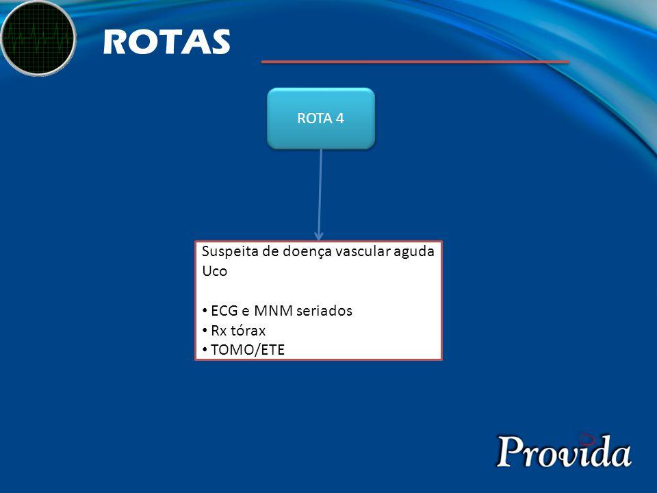ROTAS ROTA 4 Suspeita de doença vascular aguda Uco ECG e MNM seriados Rx tórax TOMO/ETE