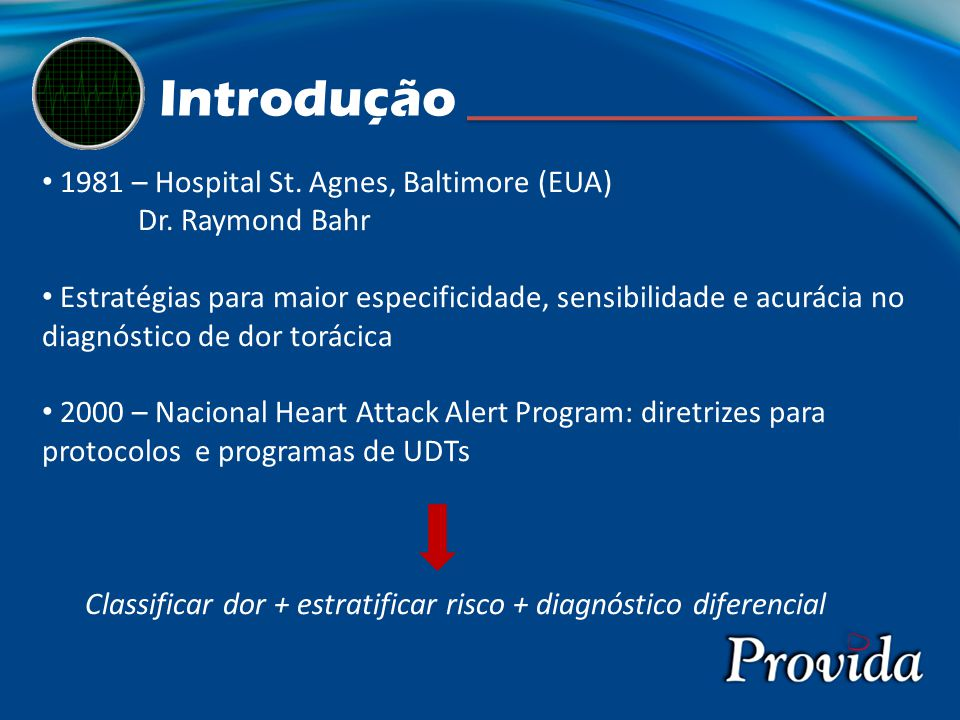 1981 – Hospital St. Agnes, Baltimore (EUA) Dr. Raymond Bahr Estratégias para maior especificidade, sensibilidade e acurácia no diagnóstico de dor torá