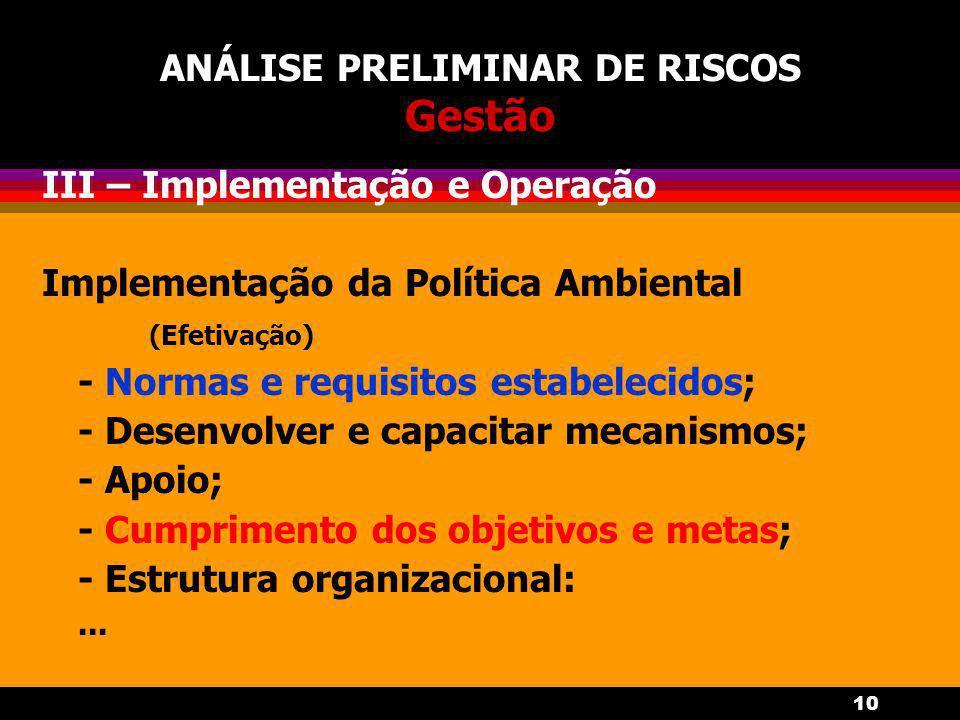 10 ANÁLISE PRELIMINAR DE RISCOS Gestão III – Implementação e Operação Implementação da Política Ambiental (Efetivação) - Normas e requisitos estabelecidos; - Desenvolver e capacitar mecanismos; - Apoio; - Cumprimento dos objetivos e metas; - Estrutura organizacional:...