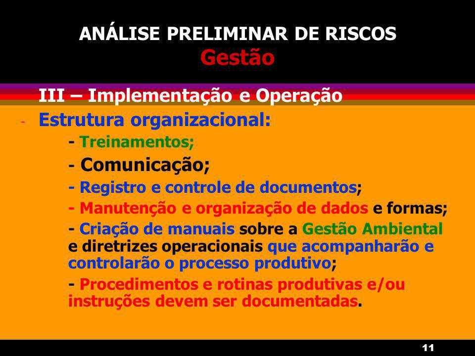 11 ANÁLISE PRELIMINAR DE RISCOS Gestão - III – Implementação e Operação - Estrutura organizacional: - Treinamentos; - Comunicação; - Registro e controle de documentos; - Manutenção e organização de dados e formas; - Criação de manuais sobre a Gestão Ambiental e diretrizes operacionais que acompanharão e controlarão o processo produtivo; - Procedimentos e rotinas produtivas e/ou instruções devem ser documentadas.
