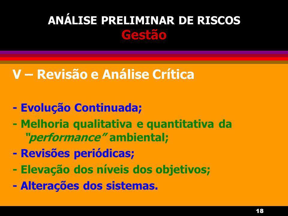 18 ANÁLISE PRELIMINAR DE RISCOS Gestão V – Revisão e Análise Crítica - Evolução Continuada; - Melhoria qualitativa e quantitativa da performance ambiental; - Revisões periódicas; - Elevação dos níveis dos objetivos; - Alterações dos sistemas.