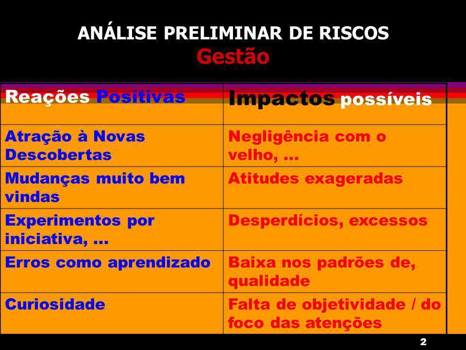 2 ANÁLISE PRELIMINAR DE RISCOS Gestão Reações Positivas Impactos possíveis Atração à Novas Descobertas Negligência com o velho,...