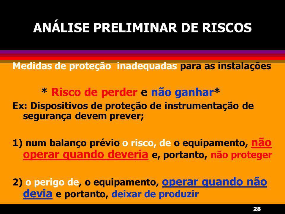 28 ANÁLISE PRELIMINAR DE RISCOS Medidas de proteção inadequadas para as instalações * Risco de perder e não ganhar* Ex: Dispositivos de proteção de in