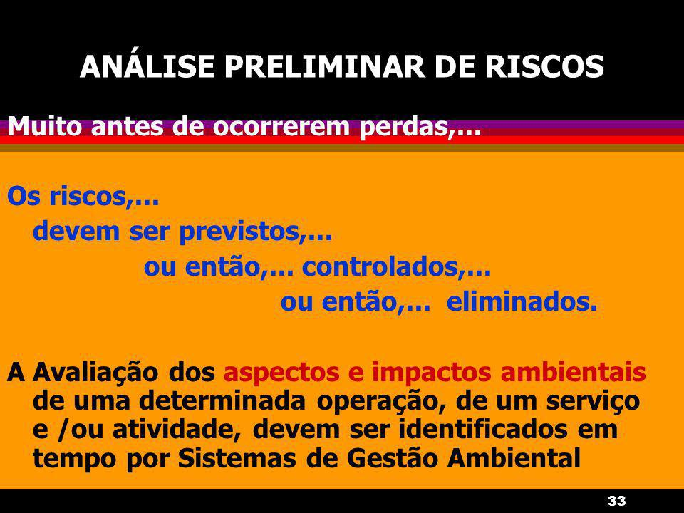 33 ANÁLISE PRELIMINAR DE RISCOS Muito antes de ocorrerem perdas,... Os riscos,... devem ser previstos,... ou então,... controlados,... ou então,... el