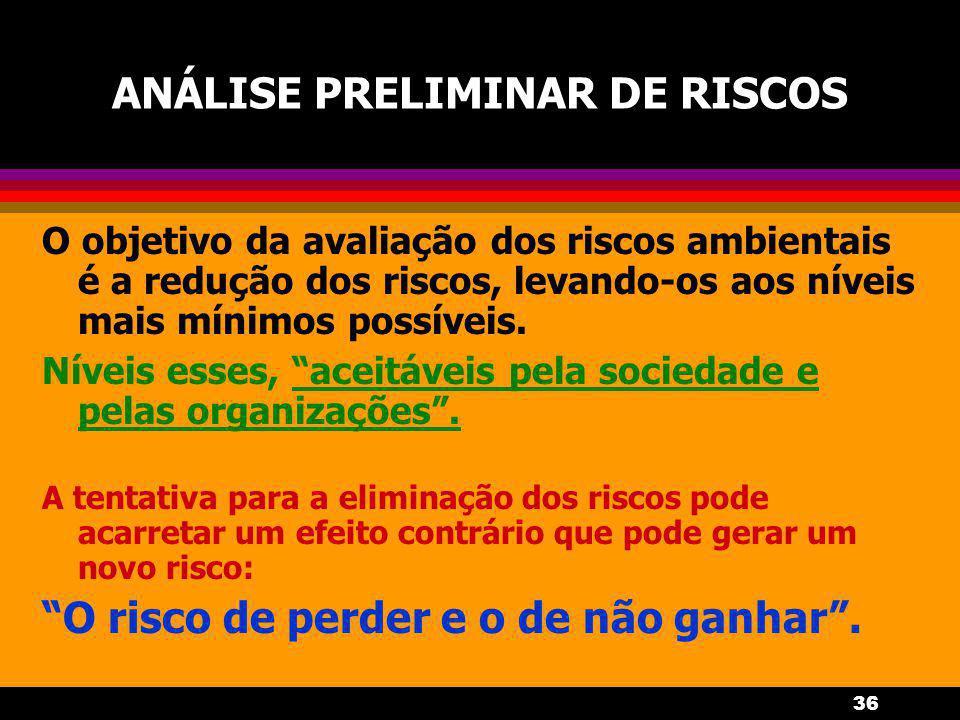 36 ANÁLISE PRELIMINAR DE RISCOS O objetivo da avaliação dos riscos ambientais é a redução dos riscos, levando-os aos níveis mais mínimos possíveis.
