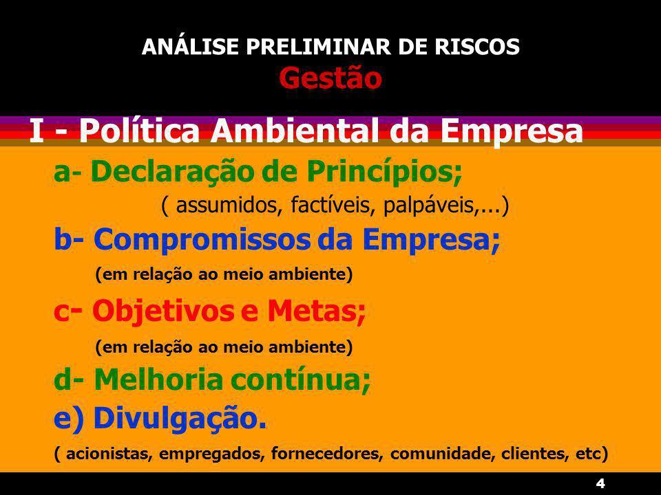 4 ANÁLISE PRELIMINAR DE RISCOS Gestão I - Política Ambiental da Empresa a - Declaração de Princípios; ( assumidos, factíveis, palpáveis,...) b- Compromissos da Empresa; (em relação ao meio ambiente) c - Objetivos e Metas; (em relação ao meio ambiente) d- Melhoria contínua; e) Divulgação.
