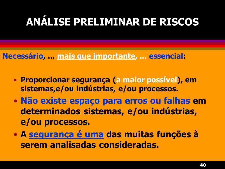 40 ANÁLISE PRELIMINAR DE RISCOS Necessário,... mais que importante,... essencial: Proporcionar segurança (a maior possível), em sistemas,e/ou indústri