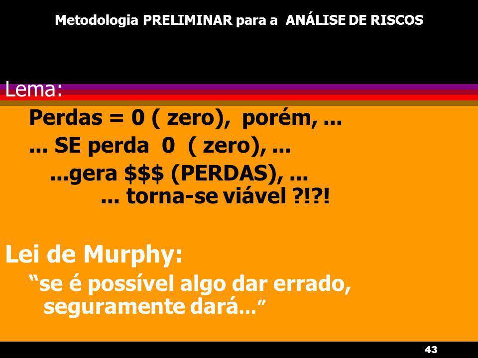 43 Metodologia PRELIMINAR para a ANÁLISE DE RISCOS Lema: Perdas = 0 ( zero), porém,...... SE perda 0 ( zero),......gera $$$ (PERDAS),...... torna-se v