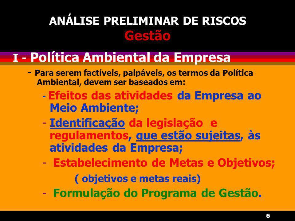 5 ANÁLISE PRELIMINAR DE RISCOS Gestão I - Política Ambiental da Empresa - Para serem factíveis, palpáveis, os termos da Política Ambiental, devem ser