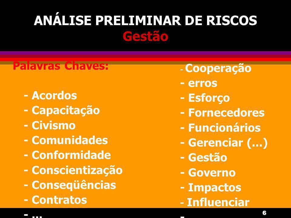 6 ANÁLISE PRELIMINAR DE RISCOS Gestão Palavras Chaves: - Acordos - Capacitação - Civismo - Comunidades - Conformidade - Conscientização - Conseqüência