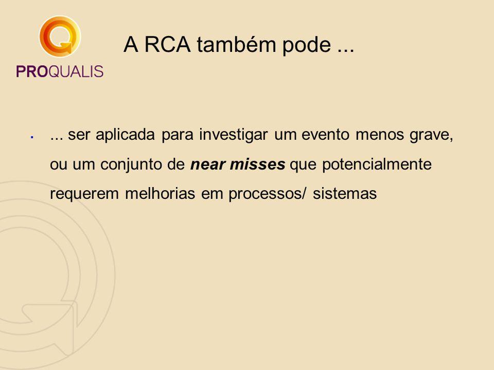 A RCA também pode... ... ser aplicada para investigar um evento menos grave, ou um conjunto de near misses que potencialmente requerem melhorias em p