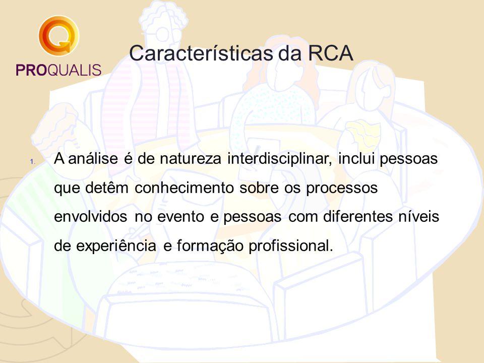 Características da RCA 1. A análise é de natureza interdisciplinar, inclui pessoas que detêm conhecimento sobre os processos envolvidos no evento e pe