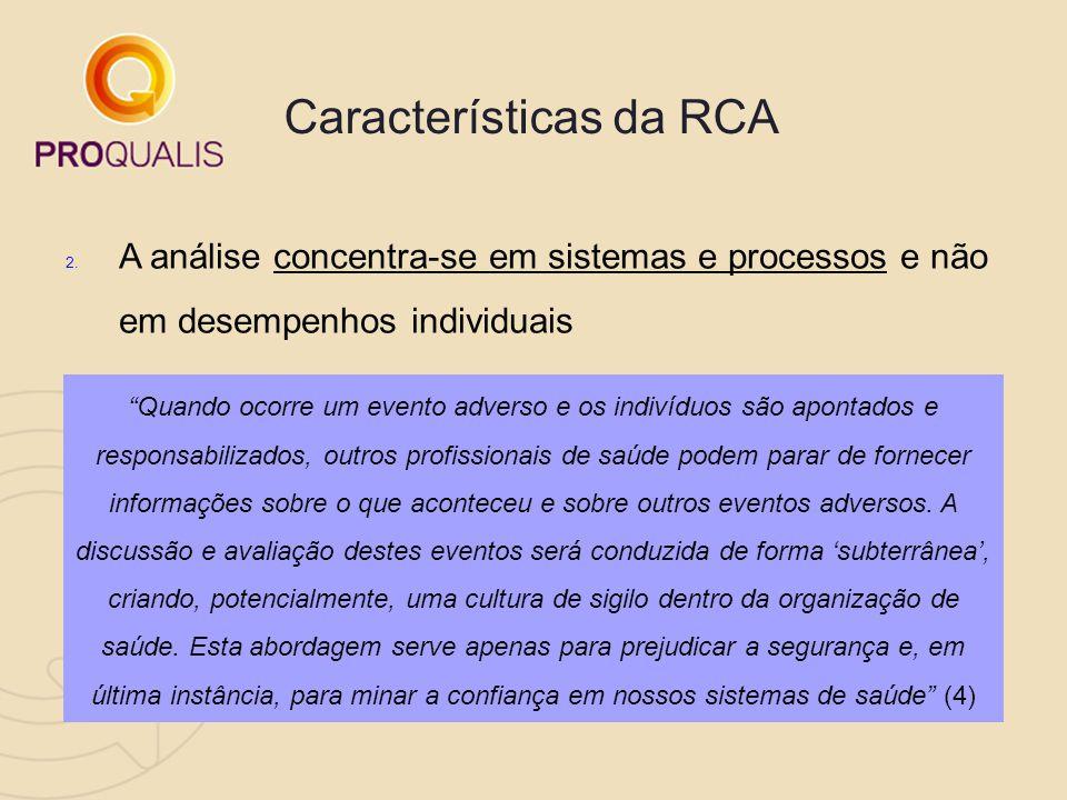 """Características da RCA 2. A análise concentra-se em sistemas e processos e não em desempenhos individuais """"Quando ocorre um evento adverso e os indiví"""