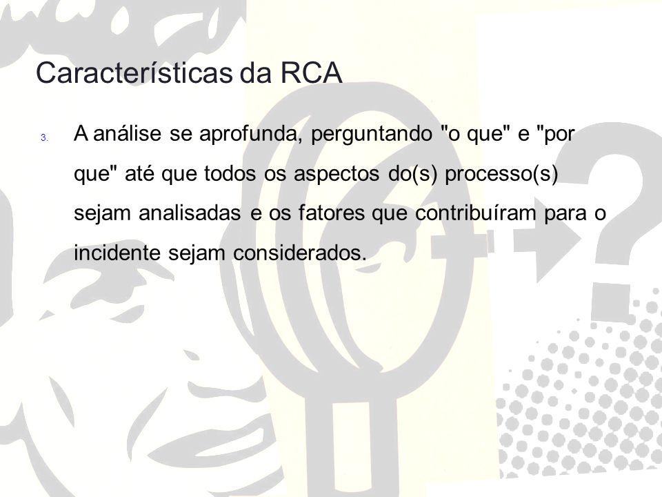Características da RCA 3. A análise se aprofunda, perguntando
