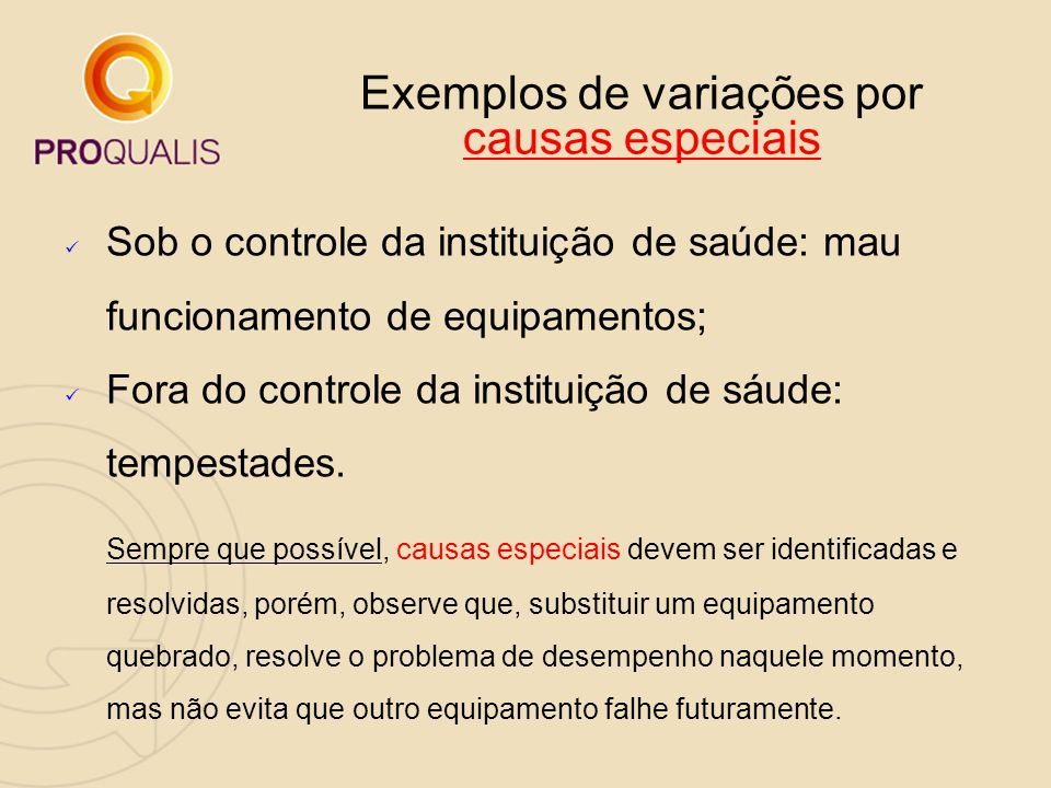 Exemplos de variações por causas especiais Sob o controle da instituição de saúde: mau funcionamento de equipamentos; Fora do controle da instituição
