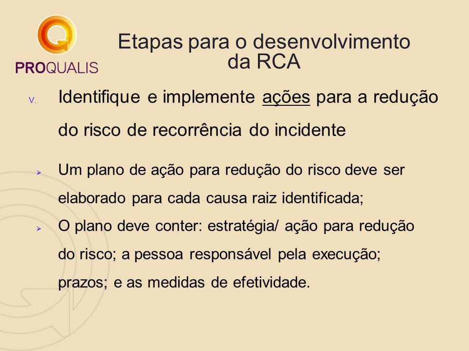 Etapas para o desenvolvimento da RCA V. Identifique e implemente ações para a redução do risco de recorrência do incidente  Um plano de ação para red