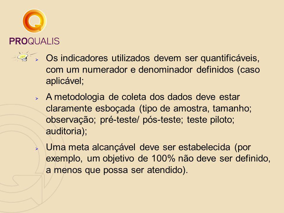  Os indicadores utilizados devem ser quantificáveis, com um numerador e denominador definidos (caso aplicável;  A metodologia de coleta dos dados de