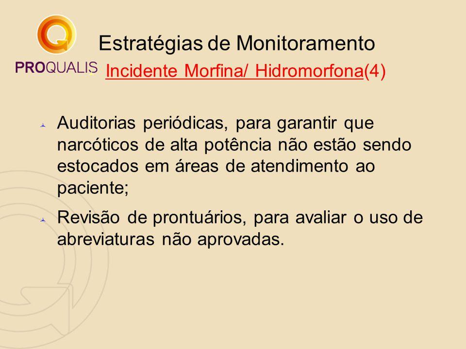 Estratégias de Monitoramento  Incidente Morfina/ Hidromorfona(4)  Auditorias periódicas, para garantir que narcóticos de alta potência não estão sen