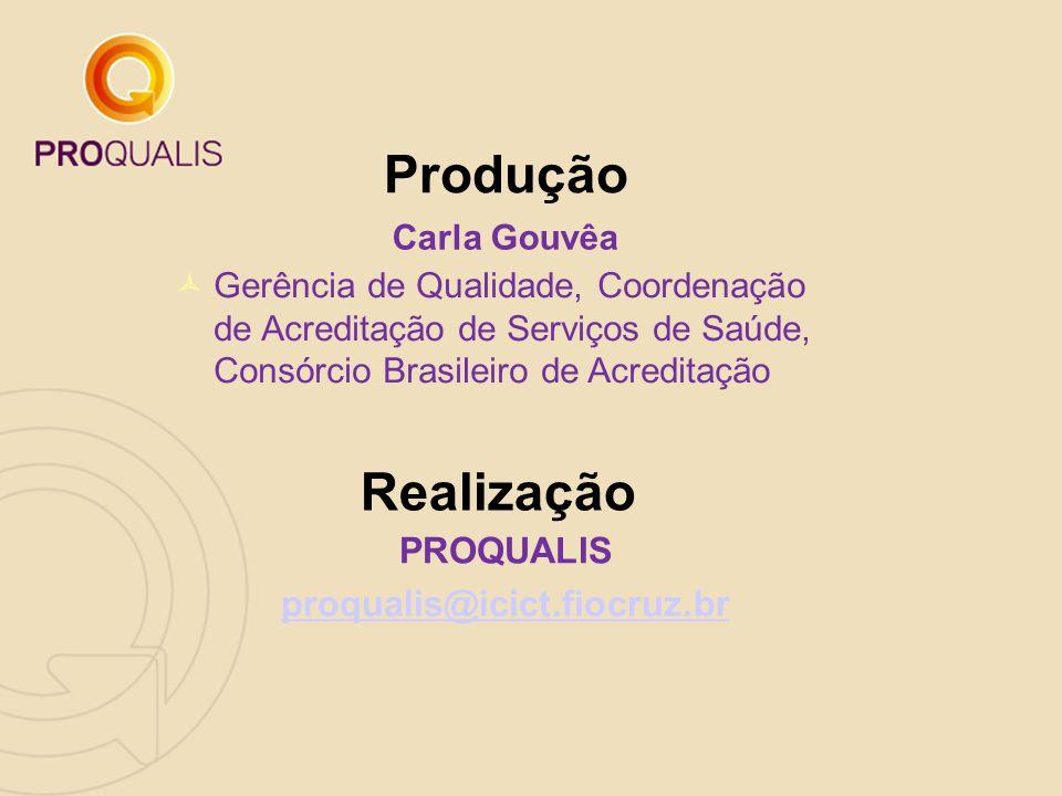 Carla Gouvêa Produção Realização PROQUALIS proqualis@icict.fiocruz.br  Gerência de Qualidade, Coordenação de Acreditação de Serviços de Saúde, Consór