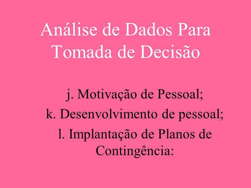 Análise de Dados Para Tomada de Decisão j. Motivação de Pessoal; k. Desenvolvimento de pessoal; l. Implantação de Planos de Contingência: