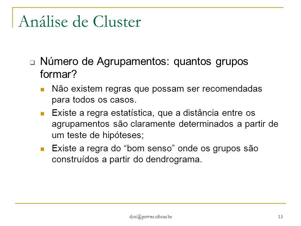 djoi@power.ufscar.br 13 Análise de Cluster  Número de Agrupamentos: quantos grupos formar? Não existem regras que possam ser recomendadas para todos