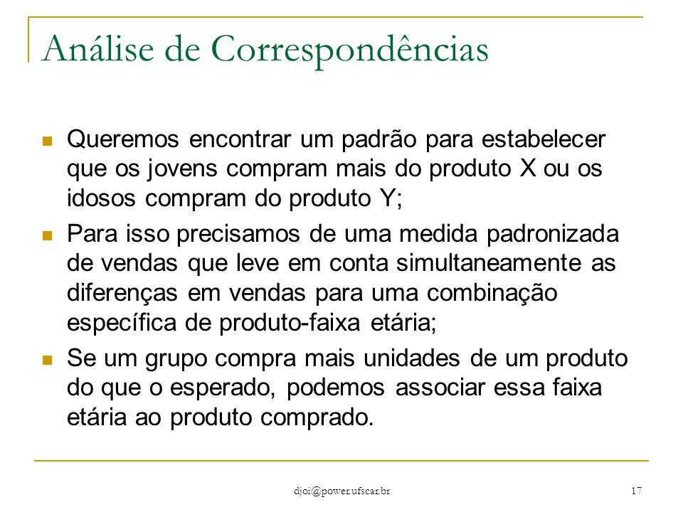 djoi@power.ufscar.br 17 Análise de Correspondências Queremos encontrar um padrão para estabelecer que os jovens compram mais do produto X ou os idosos