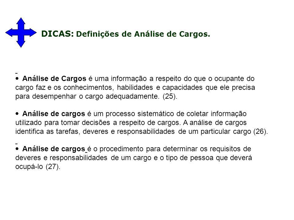 Análise de Cargos é uma informação a respeito do que o ocupante do cargo faz e os conhecimentos, habilidades e capacidades que ele precisa para desempenhar o cargo adequadamente.