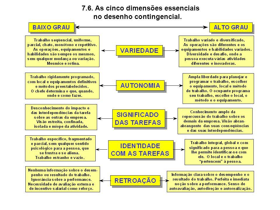 7.6. As cinco dimensões essenciais no desenho contingencial.