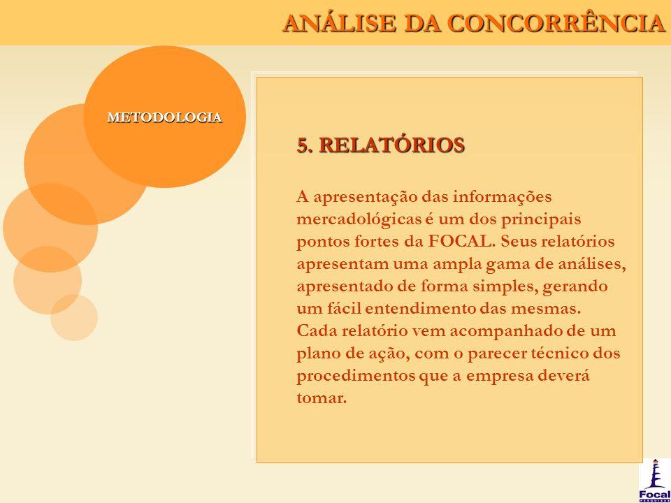 ANÁLISE DA CONCORRÊNCIA METODOLOGIA 5. RELATÓRIOS A apresentação das informações mercadológicas é um dos principais pontos fortes da FOCAL. Seus relat