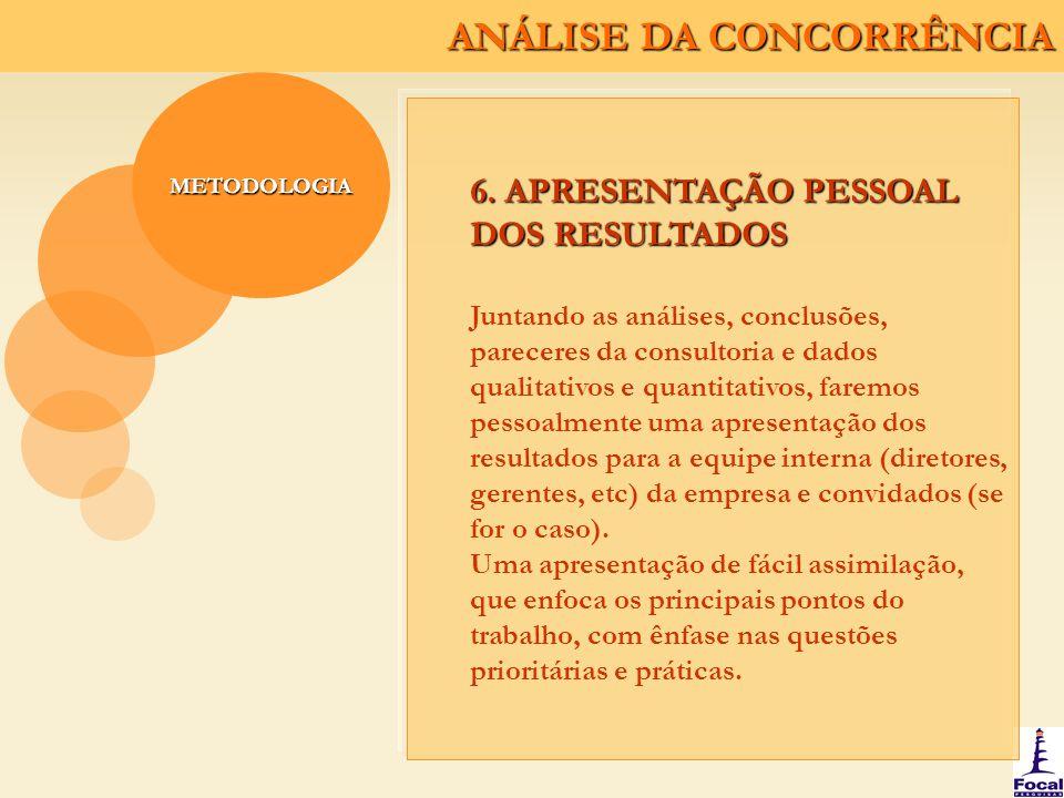 ANÁLISE DA CONCORRÊNCIA METODOLOGIA 6. APRESENTAÇÃO PESSOAL DOS RESULTADOS Juntando as análises, conclusões, pareceres da consultoria e dados qualitat